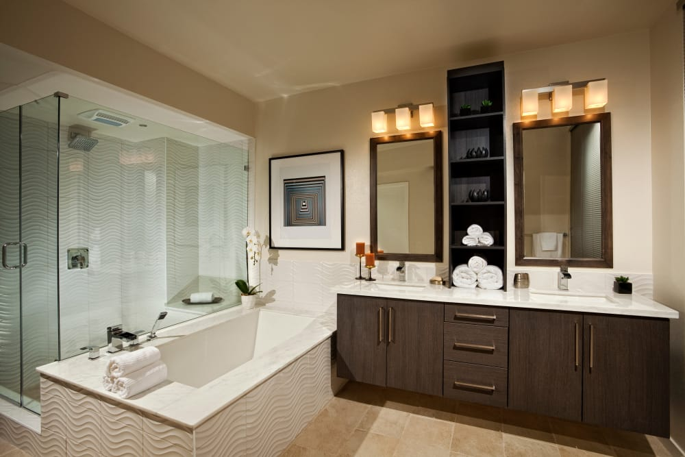 Master bathroom layout at Brio Apartment Homes in Glendale, California