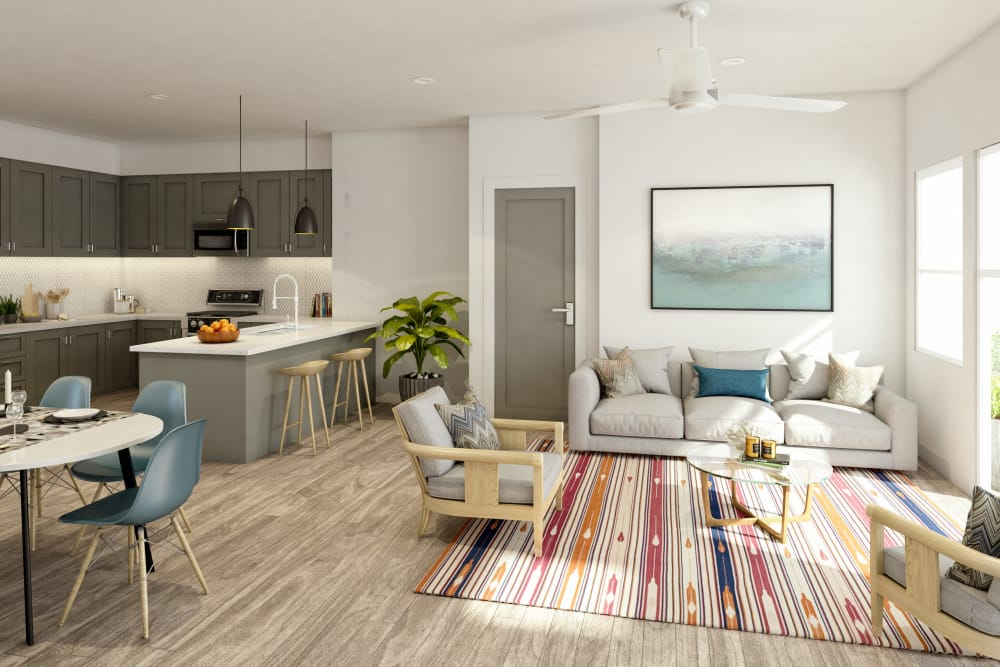 Interior rendering of apartment in Austin, Texas at The Copeland
