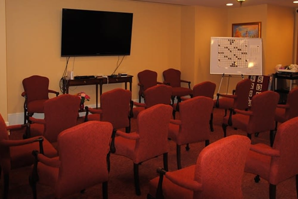 In-house theater at Cherry Park Plaza