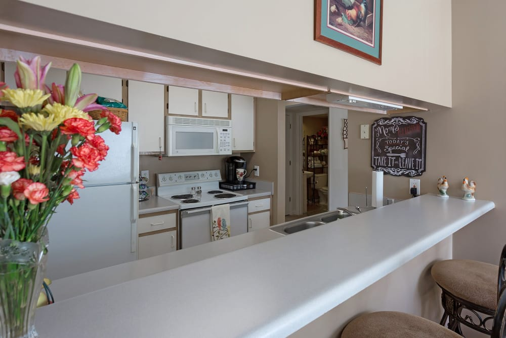 Kitchen and breakfast bar at Crescent Oaks in Graham, North Carolina