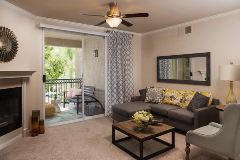 Model living room at Alize at Aliso Viejo Apartment Homes in Aliso Viejo, California