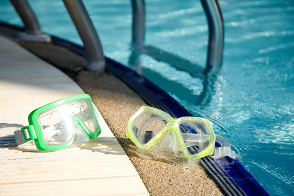Goggles by the pool at Tradan Heights in Stillwater, Oklahoma