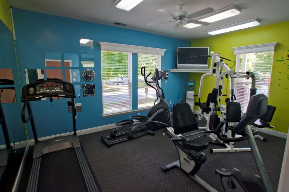 Stay healthy in the Fieldstone Apartments fitness center in Mebane, North Carolina