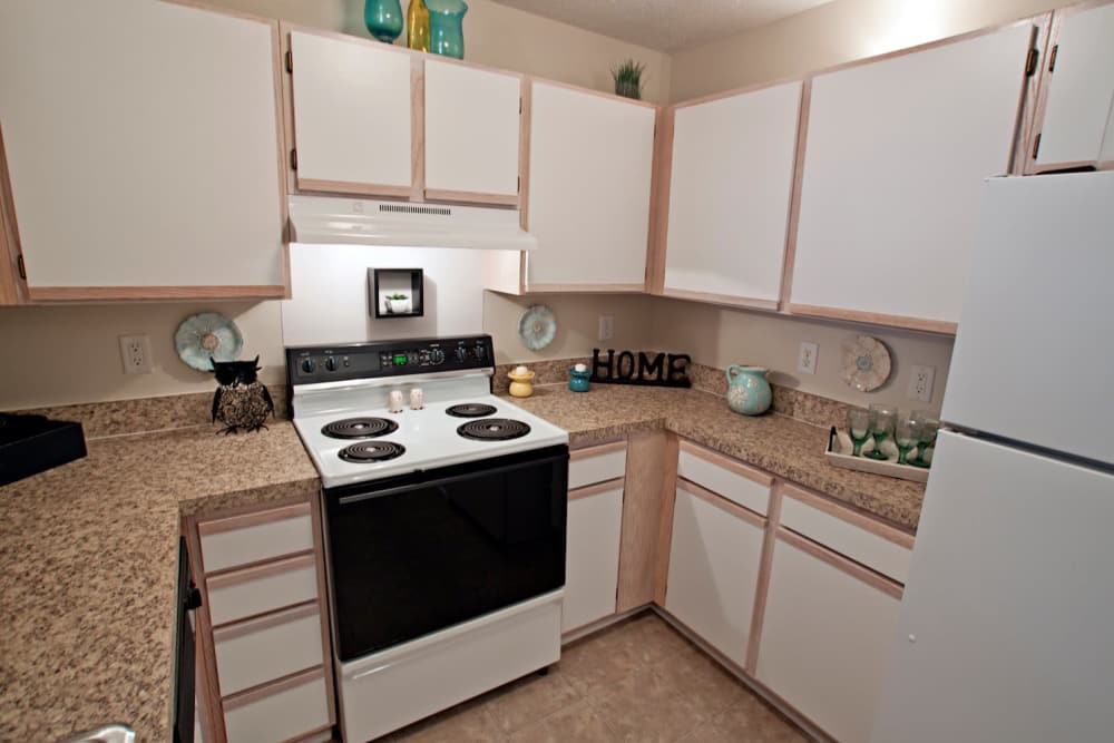 Fully-equipped kitchen at Fieldstone Apartments in Mebane, North Carolina