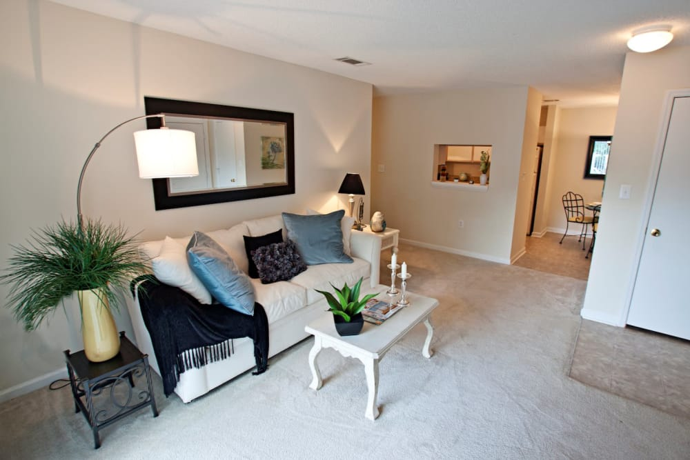 Fieldstone Apartments offers a spacious living room in Mebane, North Carolina