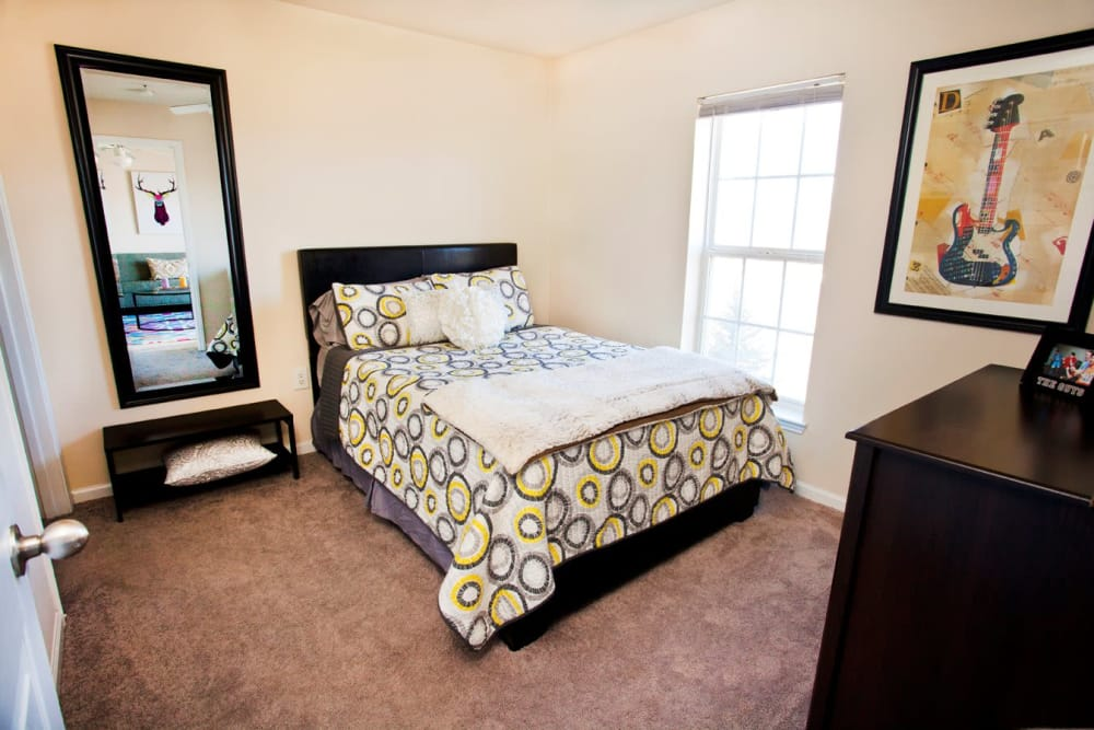 Beautiful bedroom at The Village of Meadowview in Boone, North Carolina