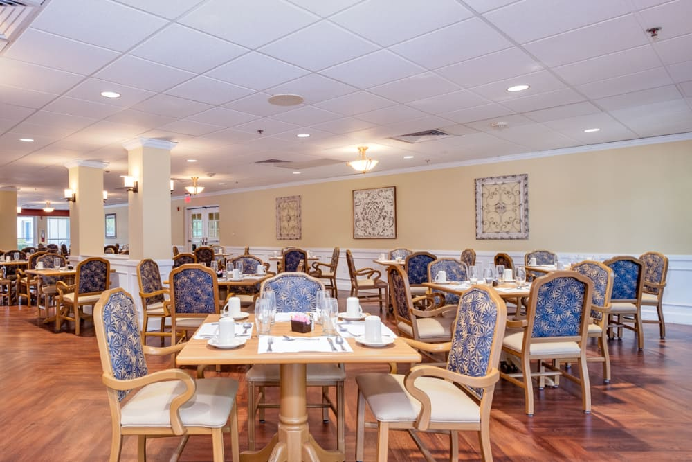 Communal dining hall at Grand Villa of Deerfield Beach in Florida