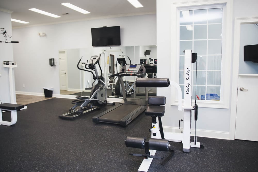 Brighton Park Apartments offers a fitness center in Byron, Georgia