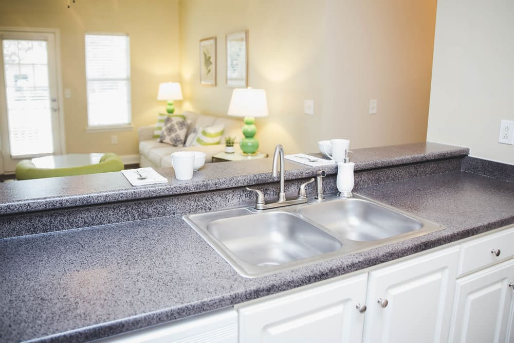 Stainless steel sink at Brighton Park Apartments in Byron, Georgia