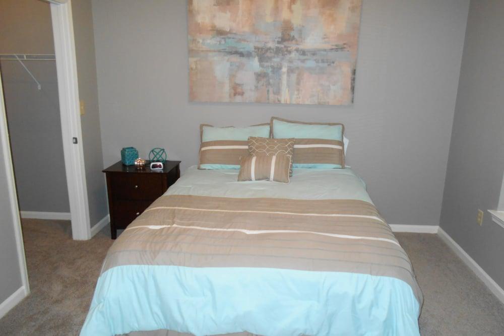 Modern apartments in Bentonville, Arkansas showcase a bedroom