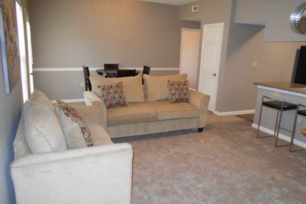 Living room at Harbin Pointe Apartments in Bentonville, Arkansas