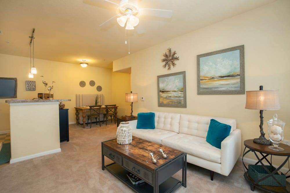 Model living room at Panther Effingham Parc Apartments in Rincon GA