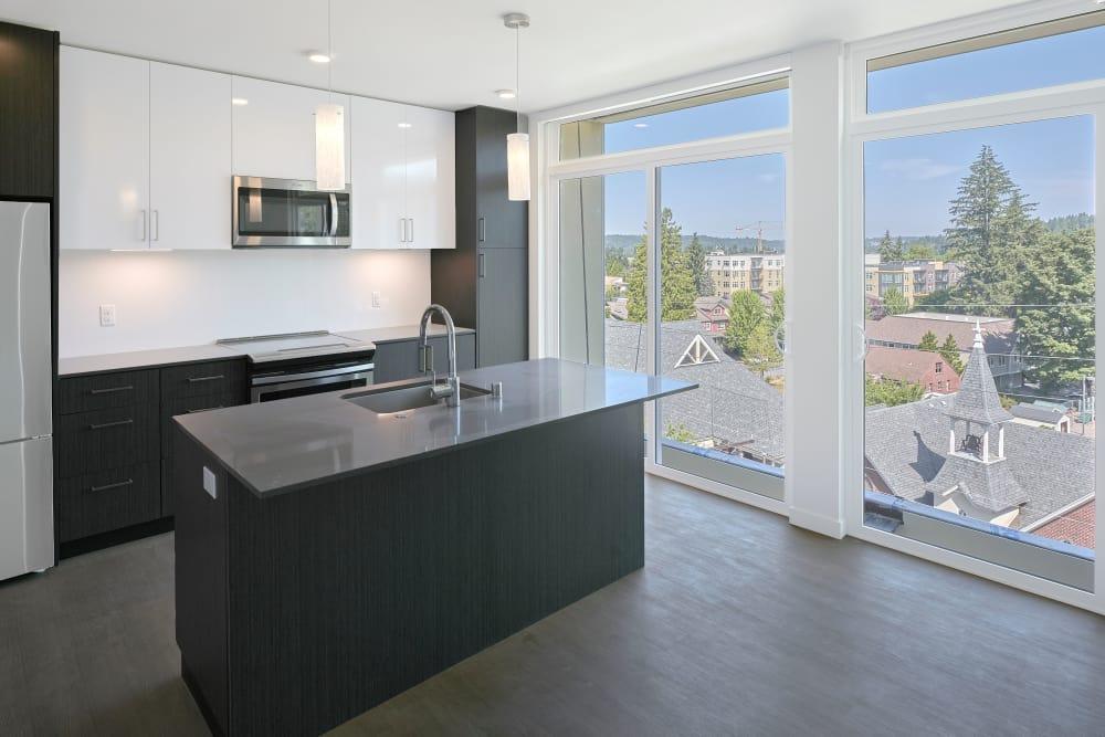 Modern kitchen at Station House Apartments in Redmond, Washington