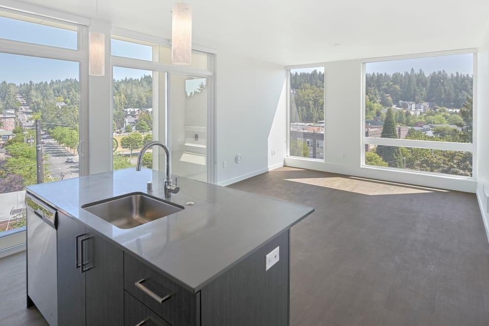 Open kitchen at apartments in Redmond, Washington