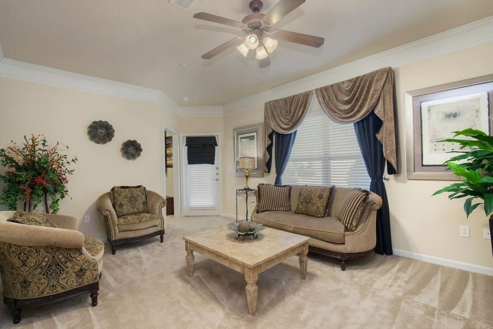 Model living room at Villas at Houston Levee West Apartments in Cordova, TN