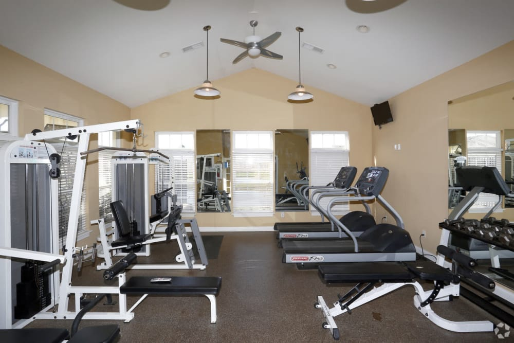 Fully equipped fitness center at The Bristol in Camby, Indiana