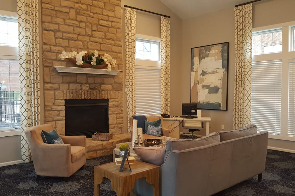 Spacious living room at Enclave at Albany Park in Westerville, Ohio