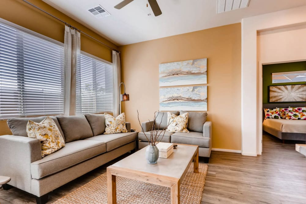 Well decorated living room at Avilla Meadows in Surprise, Arizona