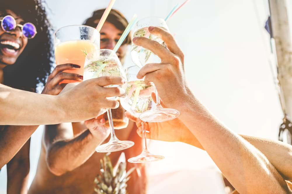 Residents raising a glass to their new homes at Aspire at 610 in Houston, Texas