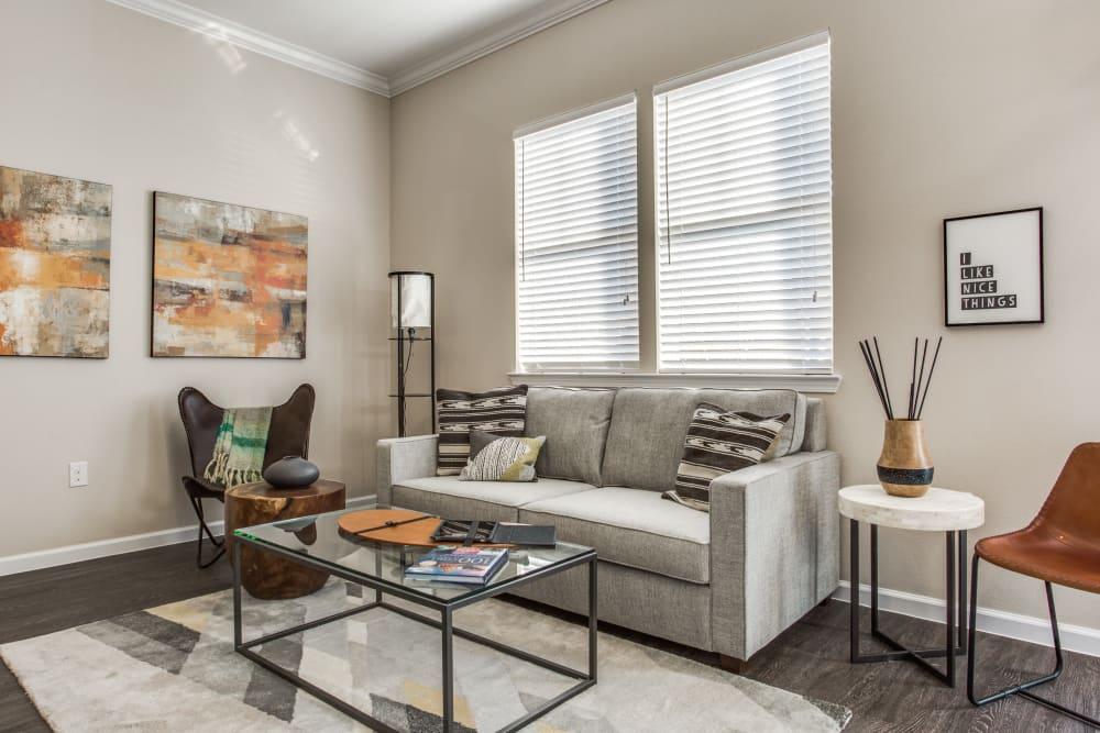 Modern living room at Avilla Premier in Plano, Texas