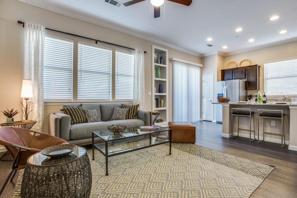 Spacious living room at Avilla Premier in Plano, Texas