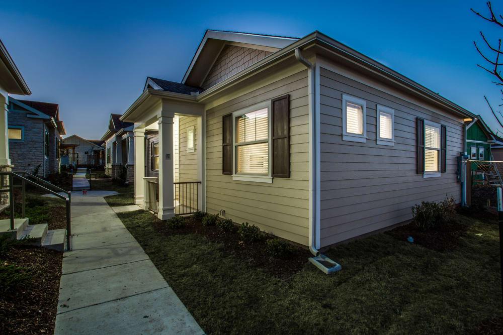 Apartments at night at Avilla Premier in Plano, Texas