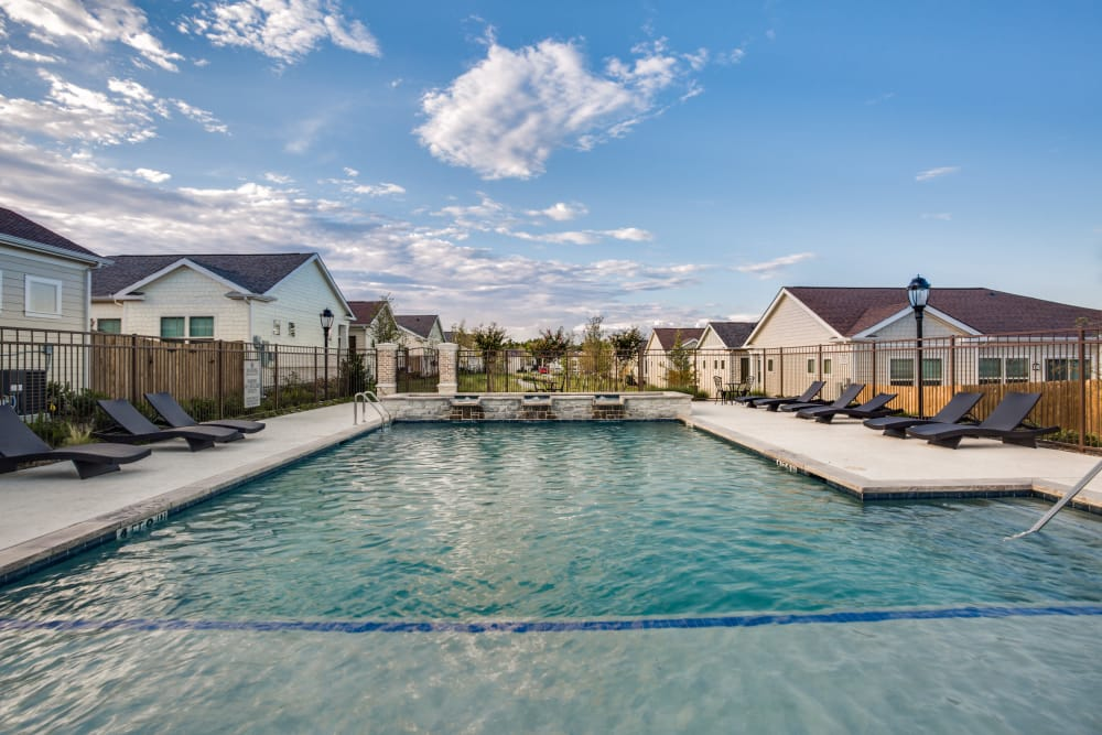 Our modern swimming pool at Avilla Premier in Plano, Texas