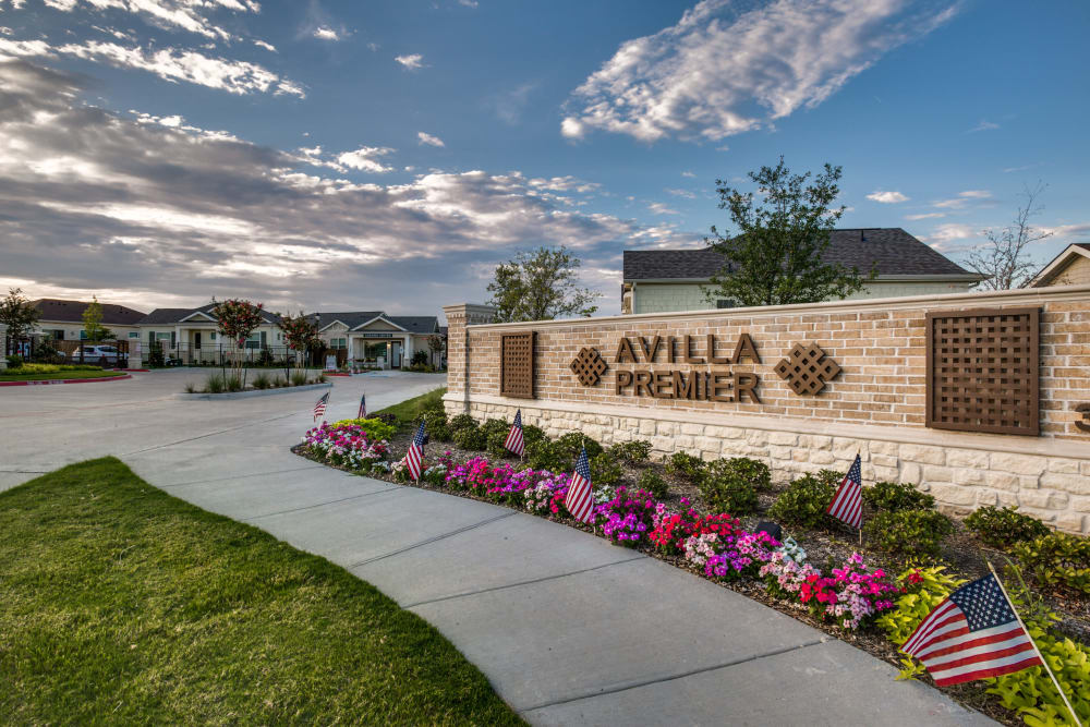 Front sign at Avilla Premier in Plano, Texas