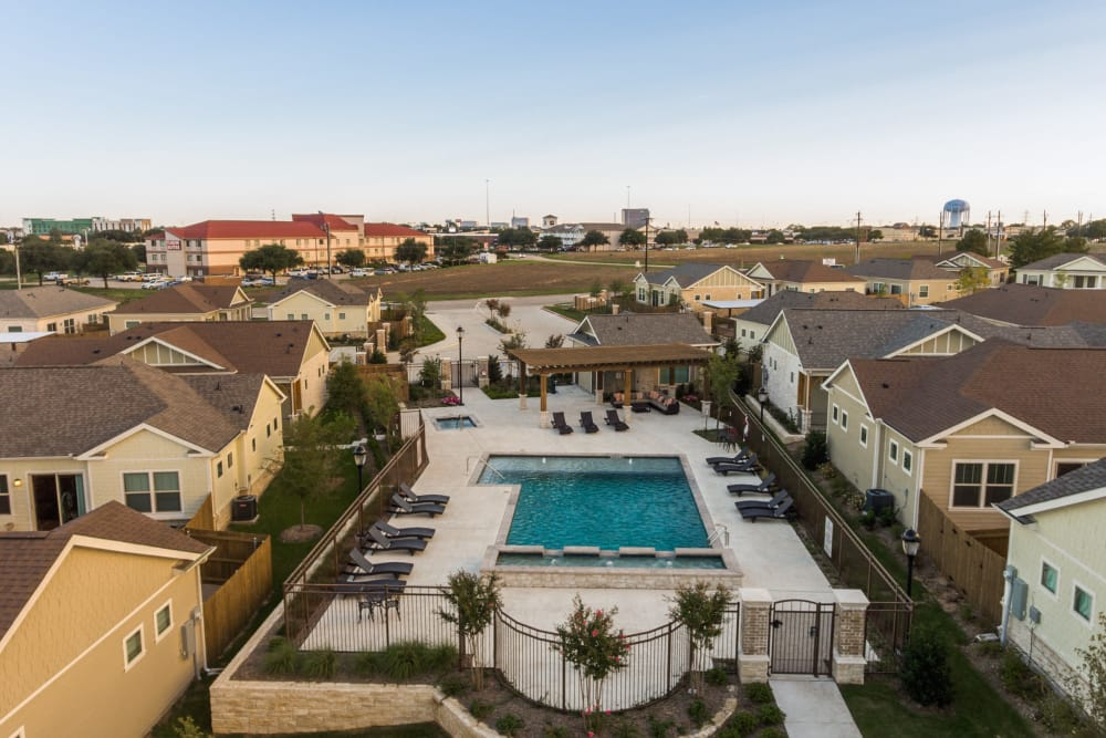 Aerial view of our apartments and swimming pool at Avilla Premier in Plano, Texas