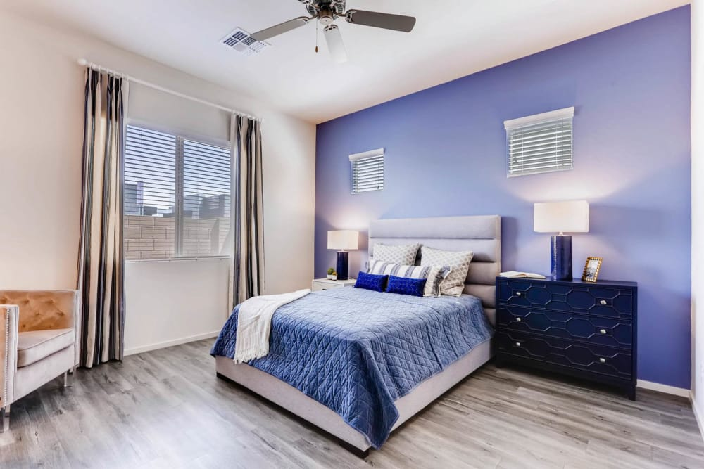 Well-decorated bedroom at Avilla Buffalo Run in Commerce City, Colorado