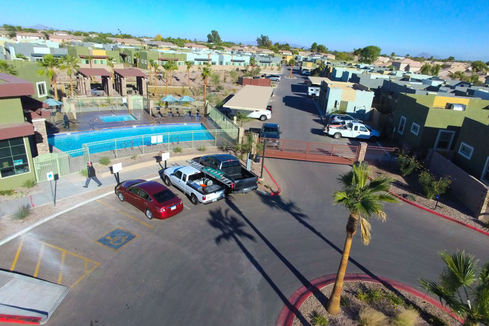 Aerial view of our apartments and swimming pool at Avilla Town Square in Gilbert, Arizona