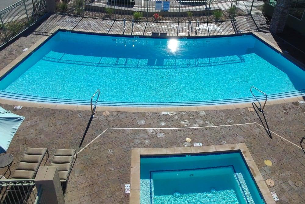 Modern swimming pool at Avilla Town Square in Gilbert, Arizona