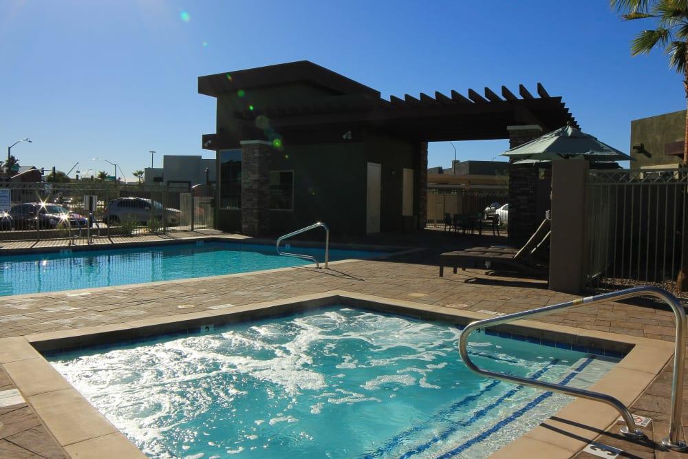 Pool area at Avilla Town Square in Gilbert, Arizona