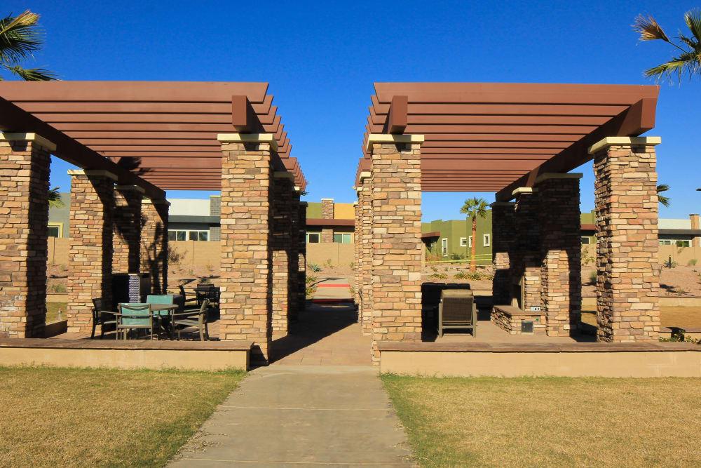 Outdoor pergola at Avilla Town Square in Gilbert, Arizona