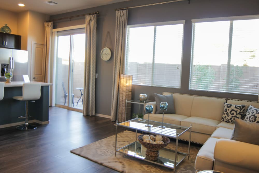 Spacious living room at Avilla Town Square in Gilbert, Arizona