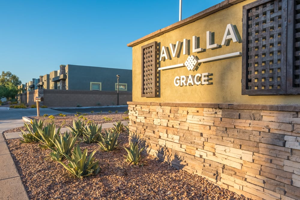 Monument sign at Avilla Grace in Chandler, Arizona