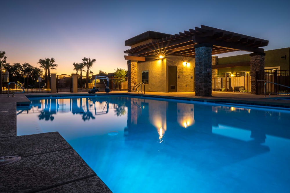 Pool at night at Avilla Grace in Chandler, Arizona