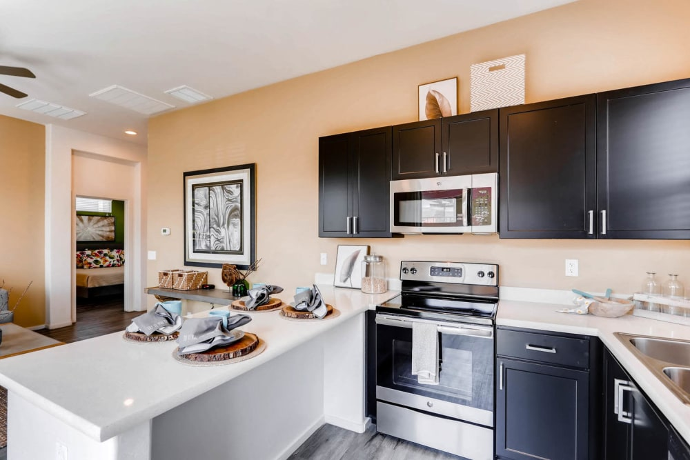 Fully-equipped kitchen at Avilla Lehi Crossing in Mesa, Arizona