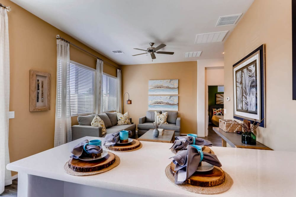 Dining area and living room at Avilla Lehi Crossing in Mesa, Arizona