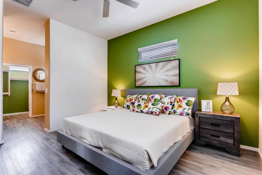 Well-lit bedroom at Avilla Lehi Crossing in Mesa, Arizona