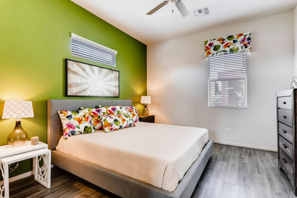 Well-decorated bedroom at Avilla Lehi Crossing in Mesa, Arizona