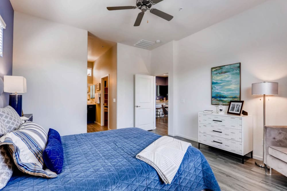 Enjoy a well-decorated bedroom at Avilla Lehi Crossing in Mesa, Arizona