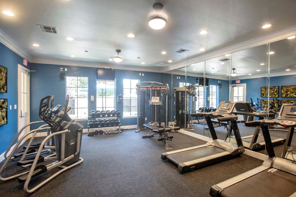 Modern fitness center at The Quarry Townhomes in San Antonio, Texas