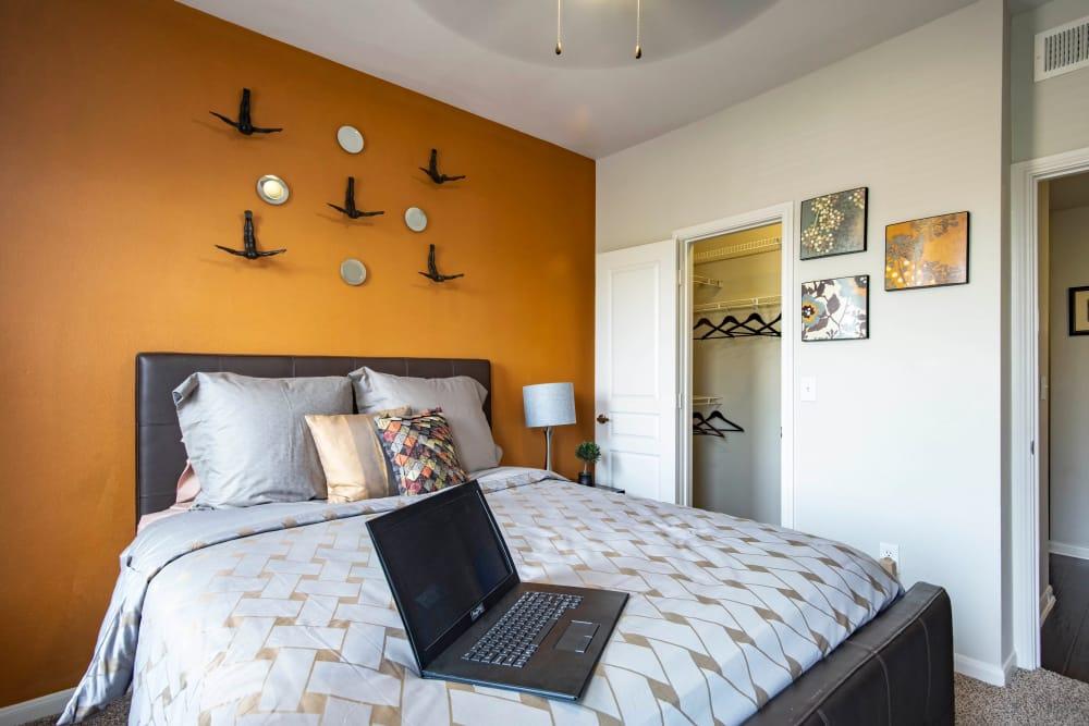 Modern bedroom at apartments in San Antonio, Texas