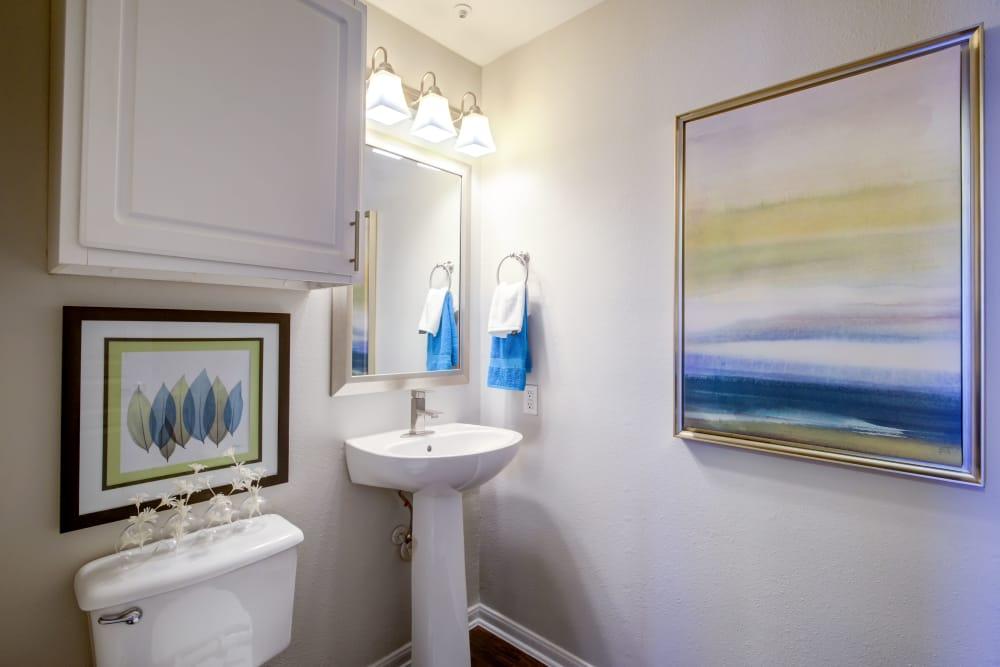 Modern bathroom at apartments in San Antonio, Texas