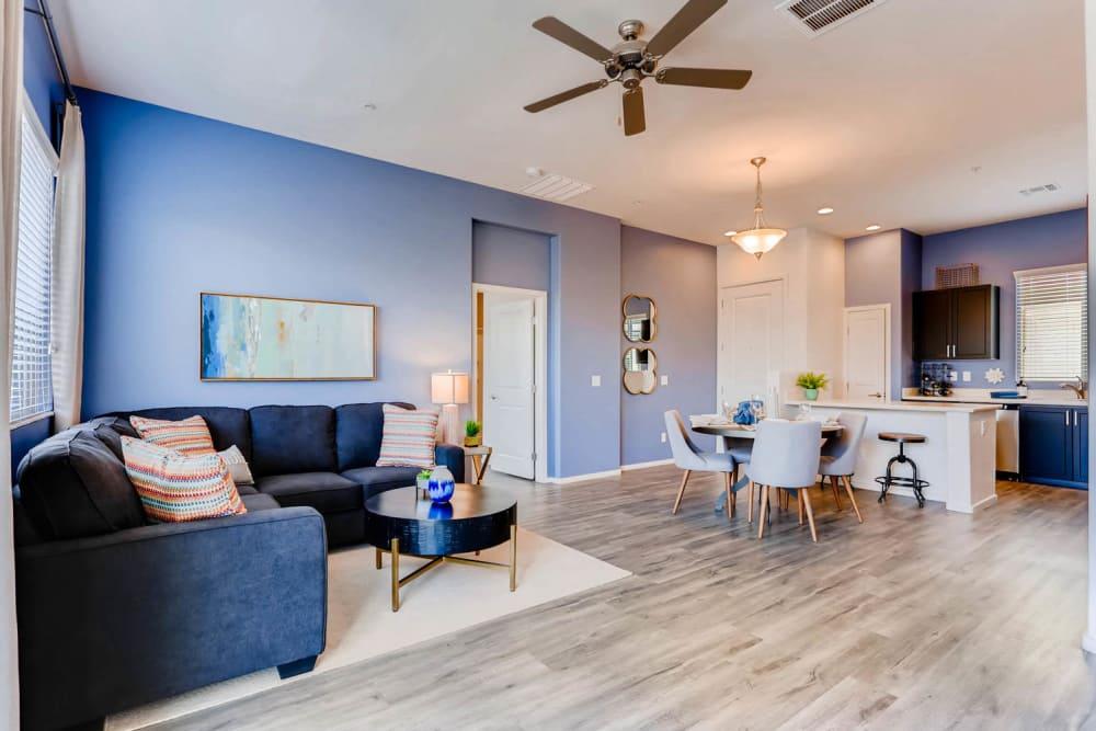 Model living room at Avilla Centerra Crossings in Goodyear, Arizona