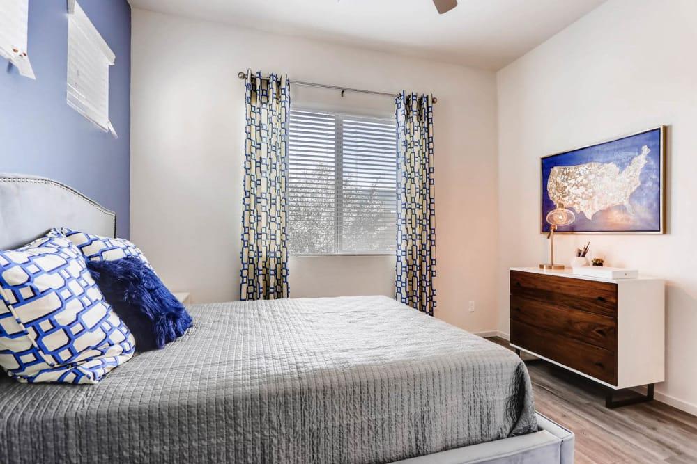 Decorated master bedroom at Avilla Centerra Crossings in Goodyear, Arizona