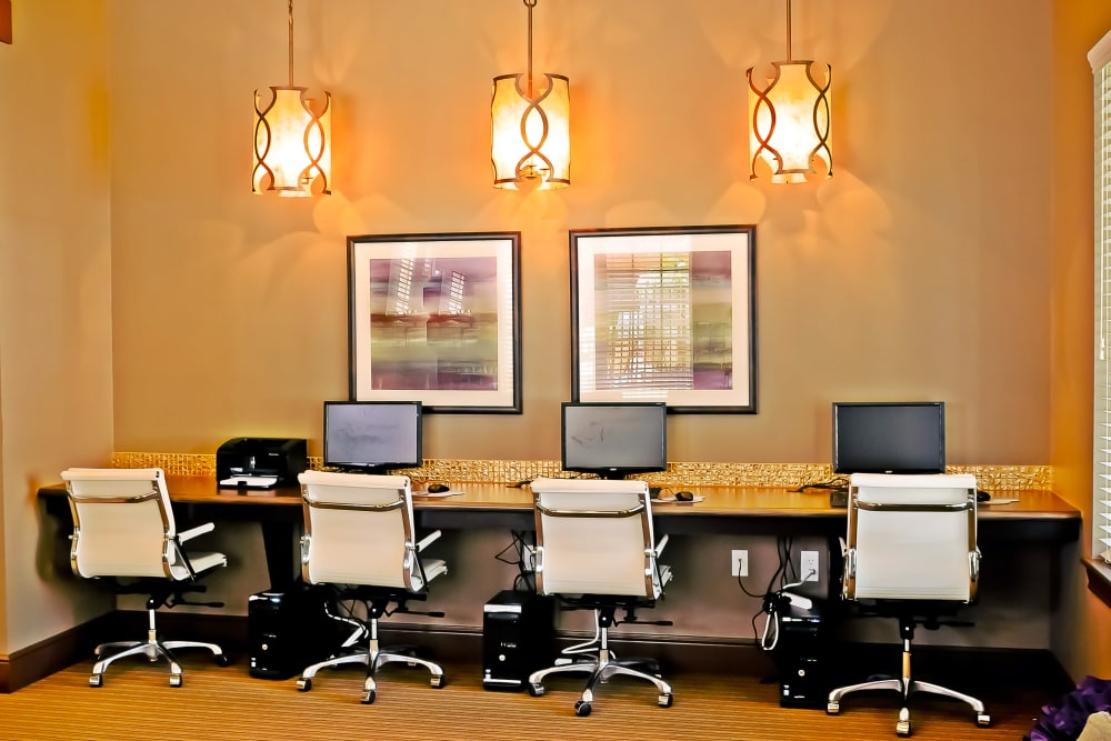 Business center with computers for resident use at Cantare at Indian Lake Village in Hendersonville, Tennessee