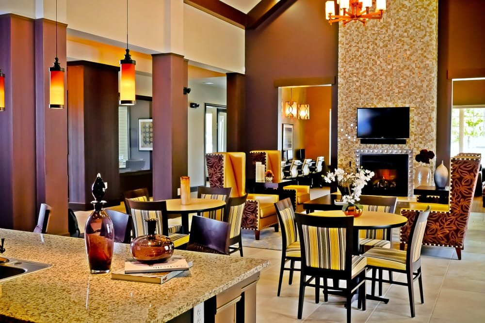 Interior view of lavish resident clubhouse at Cantare at Indian Lake Village in Hendersonville, Tennessee