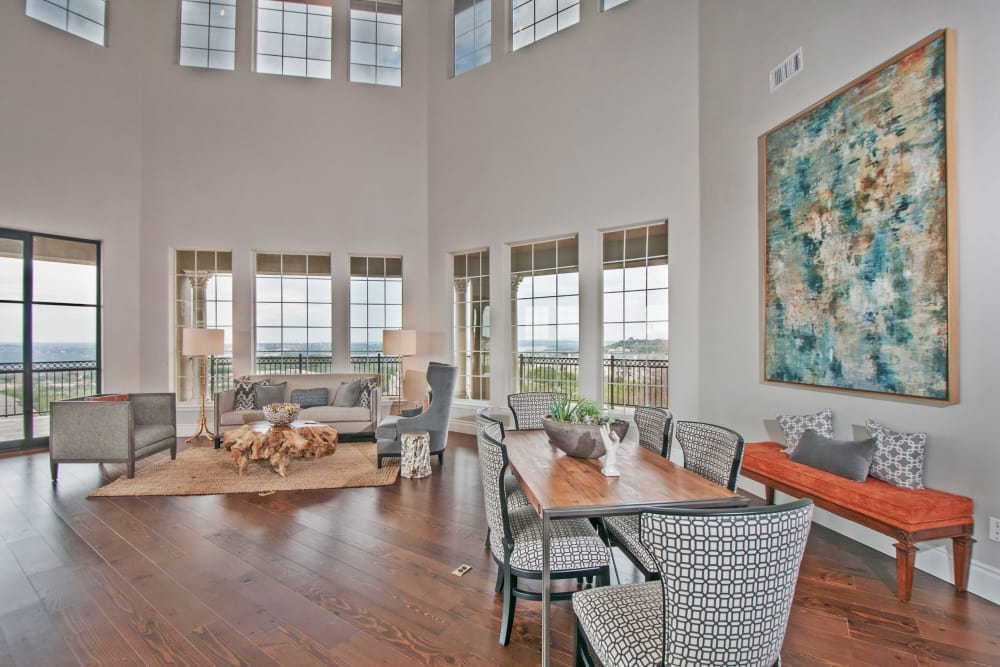 Beautiful resident clubhouse interior at Meritage at Steiner Ranch in Austin, Texas